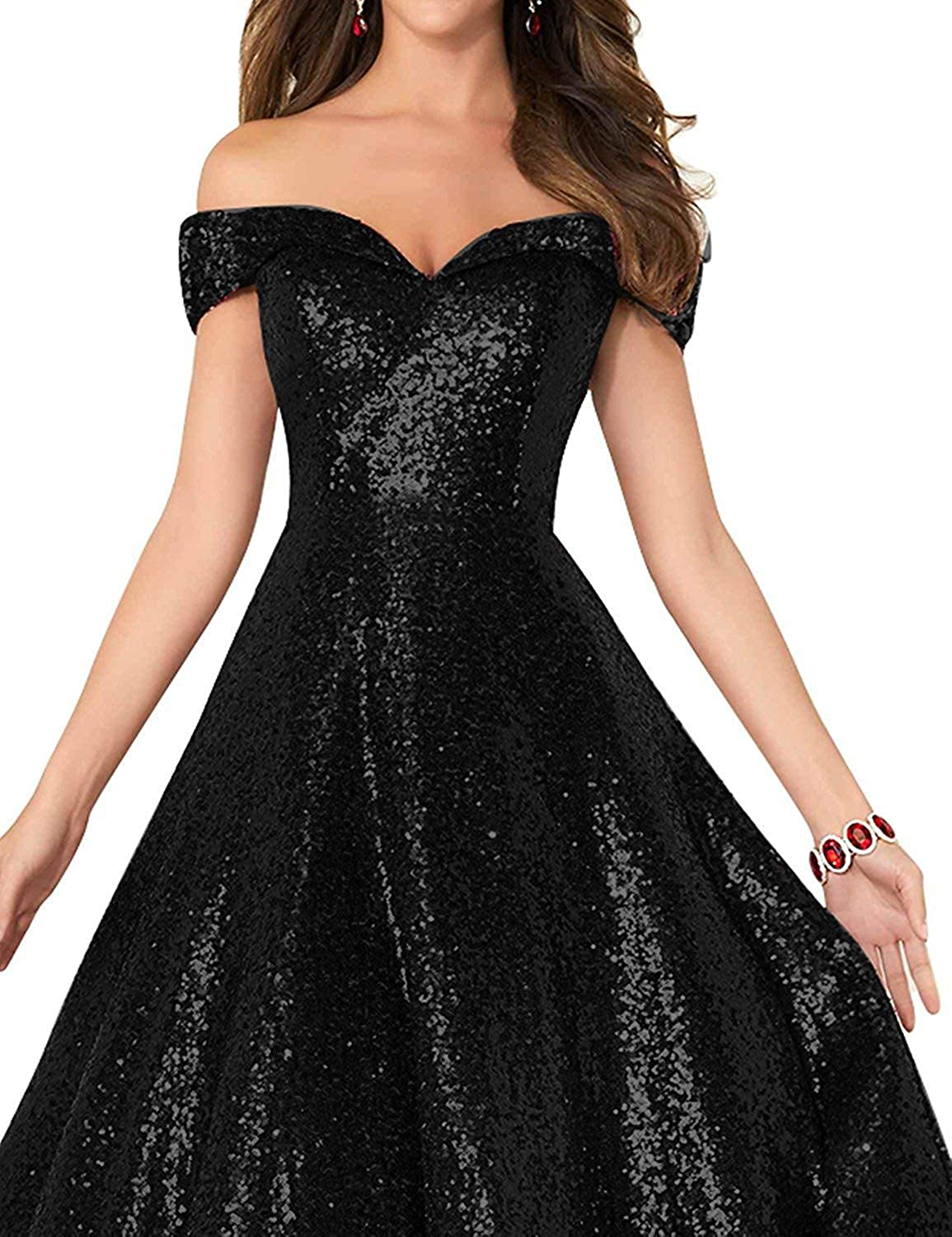 bac5f763c212d Amazon.com: Elinadress Women's Long Off Shoulder Prom Dress 2019 Sparkly  Sequins Evening Party Ball Gown 140: Clothing
