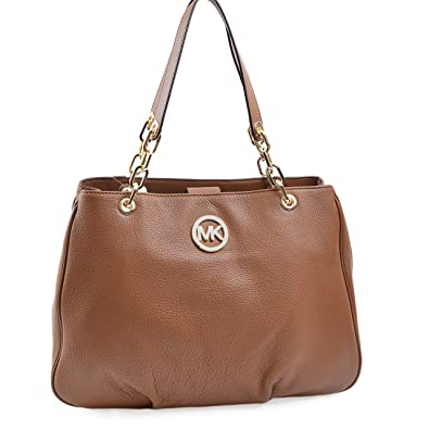 f85b2f21211982 Amazon.com: Michael Kors Fulton Chain Large Tote Luggage Leather: Shoes