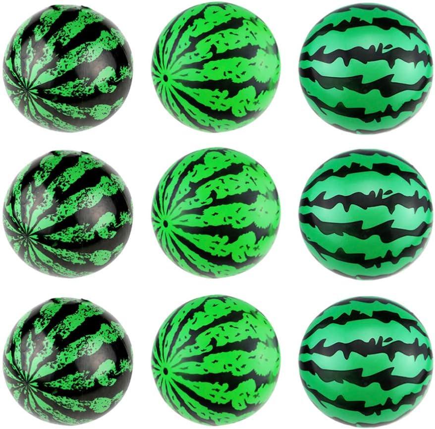 IMIKEYA 12 Piezas de Bolas de Sandía Inflables Juguetes de Bolas de Piscina Hinchables Juguetes de Frutas de Sandía Realistas Juegos de Piscina para Niños Adultos (9 Pulgadas)
