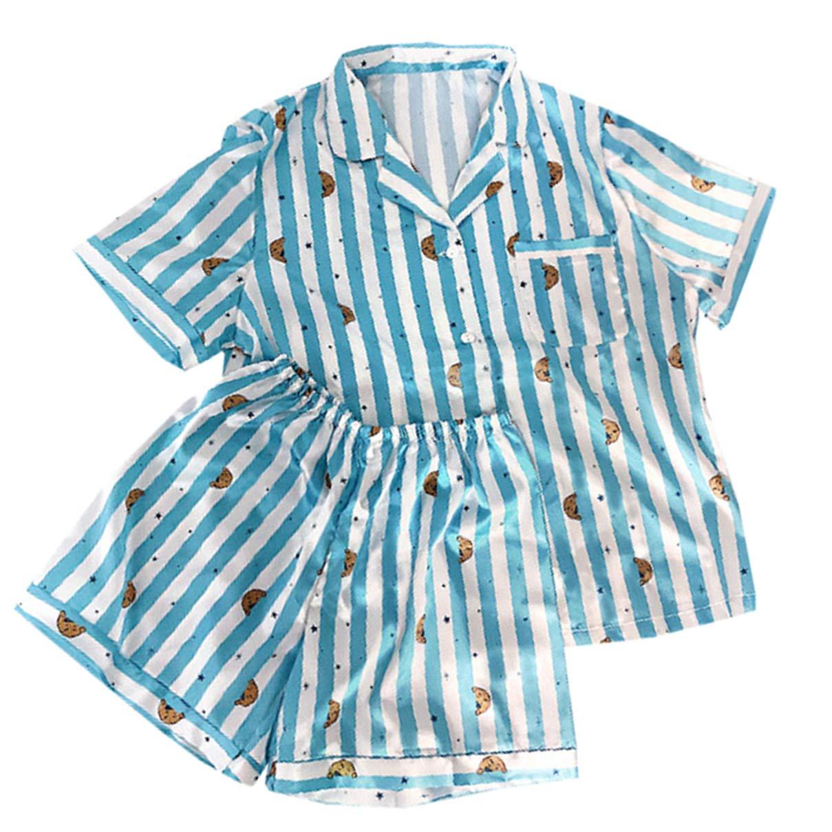 BTS BT21 Bangtan Boys Mujer Pijamas Impresos de Dibujos Animados de Verano Dos Piezas Ropa de Dormir Conjunto
