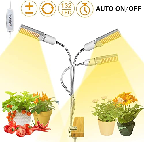 Grow Lights for Indoor Plants Full Spectrum, Elaine 132W Auto ON Off Plant Grow Light 3 6 12H Timing Function Sunlike Clip On Grow Light Lamp for Succulents and Seed Starting