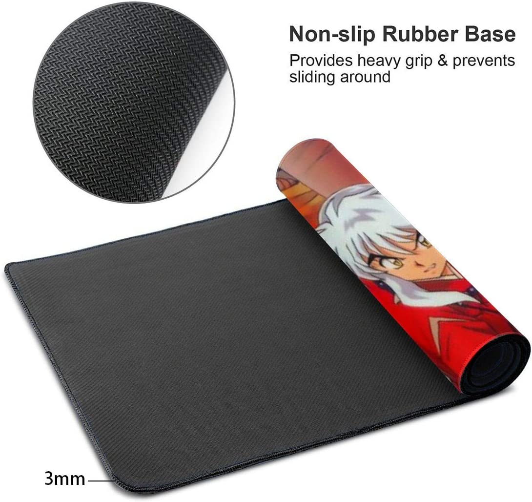 3mm Thick Extra Large Mouse Pad 31.5 X 11.8x0.12 Inuyasha Desk Mousepad - XL Protective Keyboard Desk Mouse Mat for Computer//Laptop