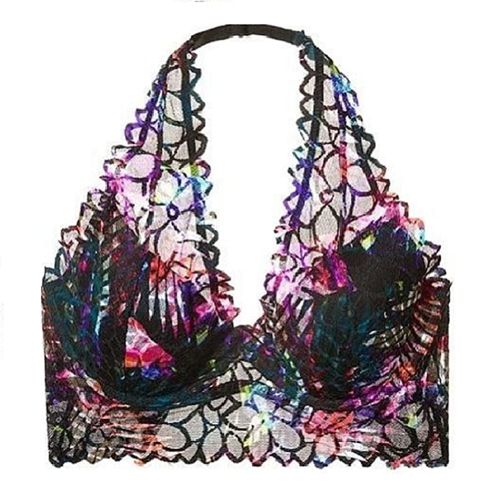 9631921d0649e Amazon.com  Victoria s Secret Pink Floral Lace Halter Bralette Bra Small  (D-DD) Tropical Palm  Clothing