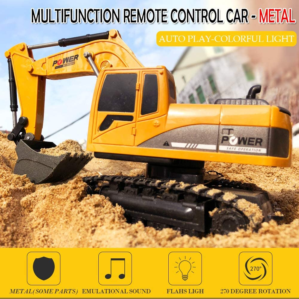 Uizbeer RC Excavator Truck Toy Construction Tractor,Boys Full Functional Remote Control Excavator Vehicle with Metal Shovel//Flashlights,Rechargeable Die-cast Digger Car Gifts for Kids 6 Channel