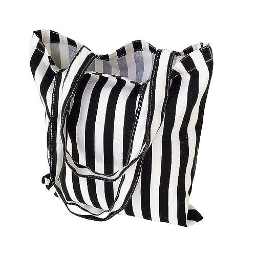 2dc2cffd5 Flowertree Women's Cute Animal Print Canvas Tote Bag (506-Black white stripe /Open