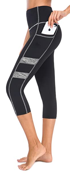 4fecbab363 Neonysweets Women's Ladies Workout Leggings with Pockets Running Yoga Pants  Ankle Length (Small, Capris