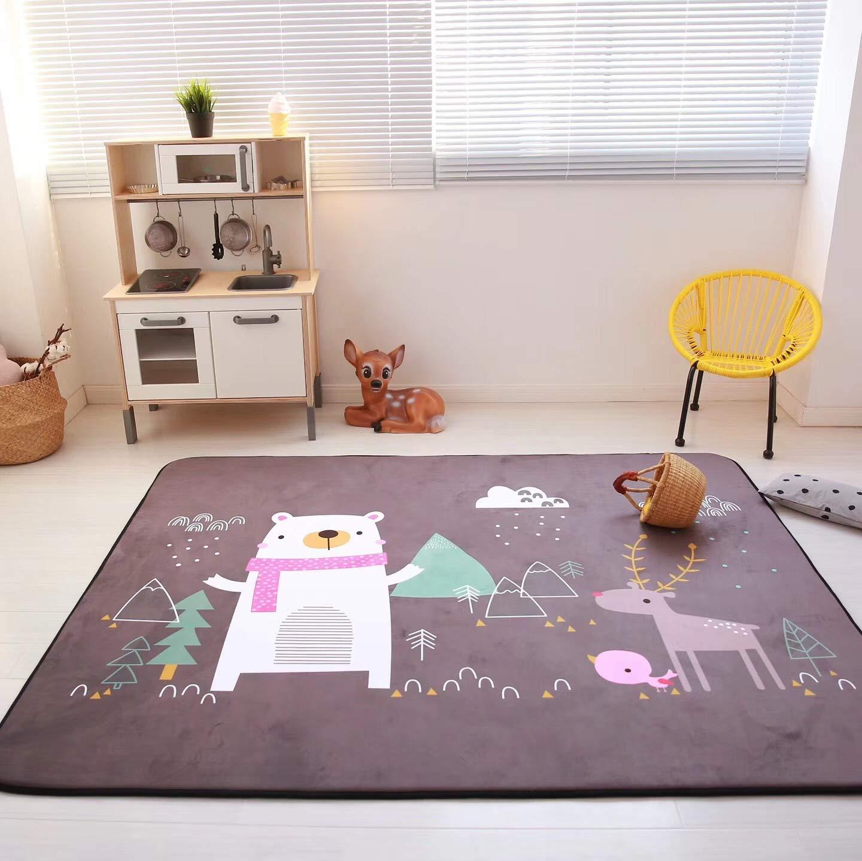 Vier Seasons Samtiger Langsamer Rebound Verdickte Wohnzimmer Matte Kind Rutschfest Kriechntes Pad Baby-pad Game Carpet Rund 150  195cm Puzzle-Park Mochasenlin