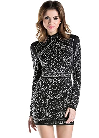 db7d621c4649 Miss ord Women's Long Sleeve High Neck Bodycon Tight Casual Mini Dress Black  X-Small