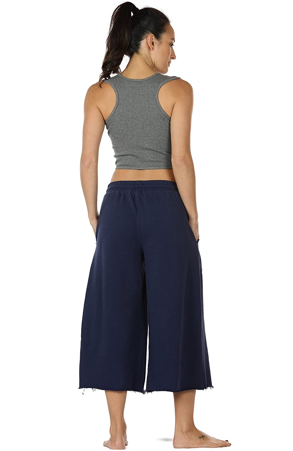 9453bba3d7 icyzone Womens Joggers Sweatpants - Athletic Lounge Cotton Terry Wide Leg Capri  Pants with Pockets Best Christmas gifts 2018