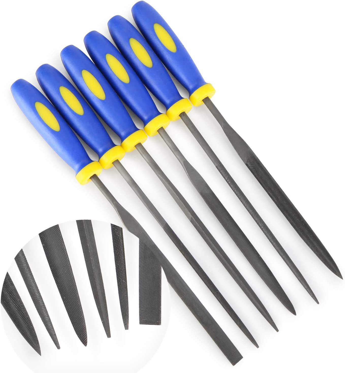 MINI Needle File Set (Carbon Steel 6 Piece-Set) Hardened Alloy Strength Steel - Set Includes Flat, Flat Warding, Square, Triangular, Round, and Half-Round File(6'' Total Length)