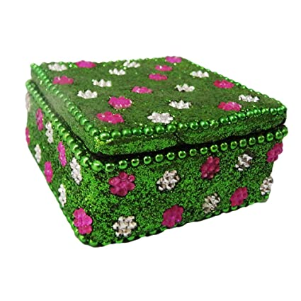 Handmade Pill Box Mdf Lac Material Square Shape Green Table Topper Women s  Accessories Small Storage Case 2ff6c3d256