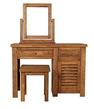 Modasa Living Mango Wood Dressing Table Set / Solid Stone Finish Mango Wood  Dressing Table,