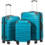 "Coolife Luggage Expandable(only 28"") Suitcase 3 Piece Set with TSA Lock Spinner 20in24in28in (lake blue)"