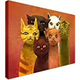 Abstract Cats | 12x16 Canvas Wall Art Print - Long Lasting High Quality Wooden Frames
