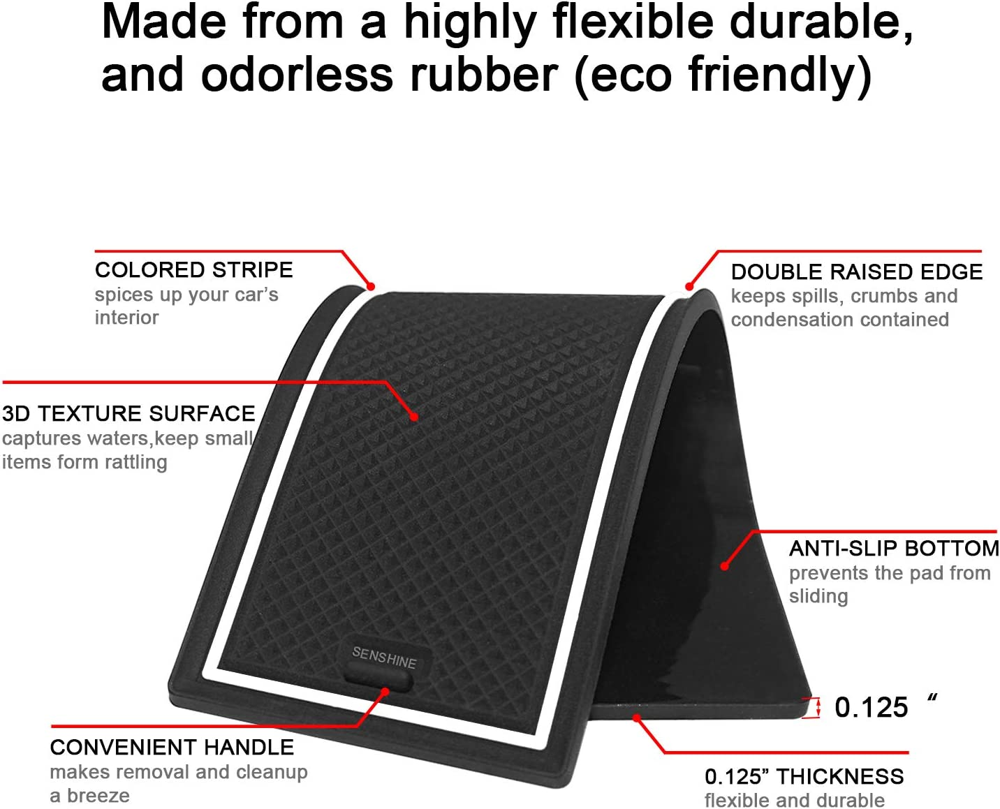 Consoles & Organizers Black Trim SENSHINE Cup Liner Door Mat for ...