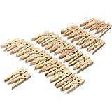KINGSO 100 Pcs 35mm Mini Pince A Linge En Bois Pour Naturel Papier Photo Craft Clips Maison Décoration