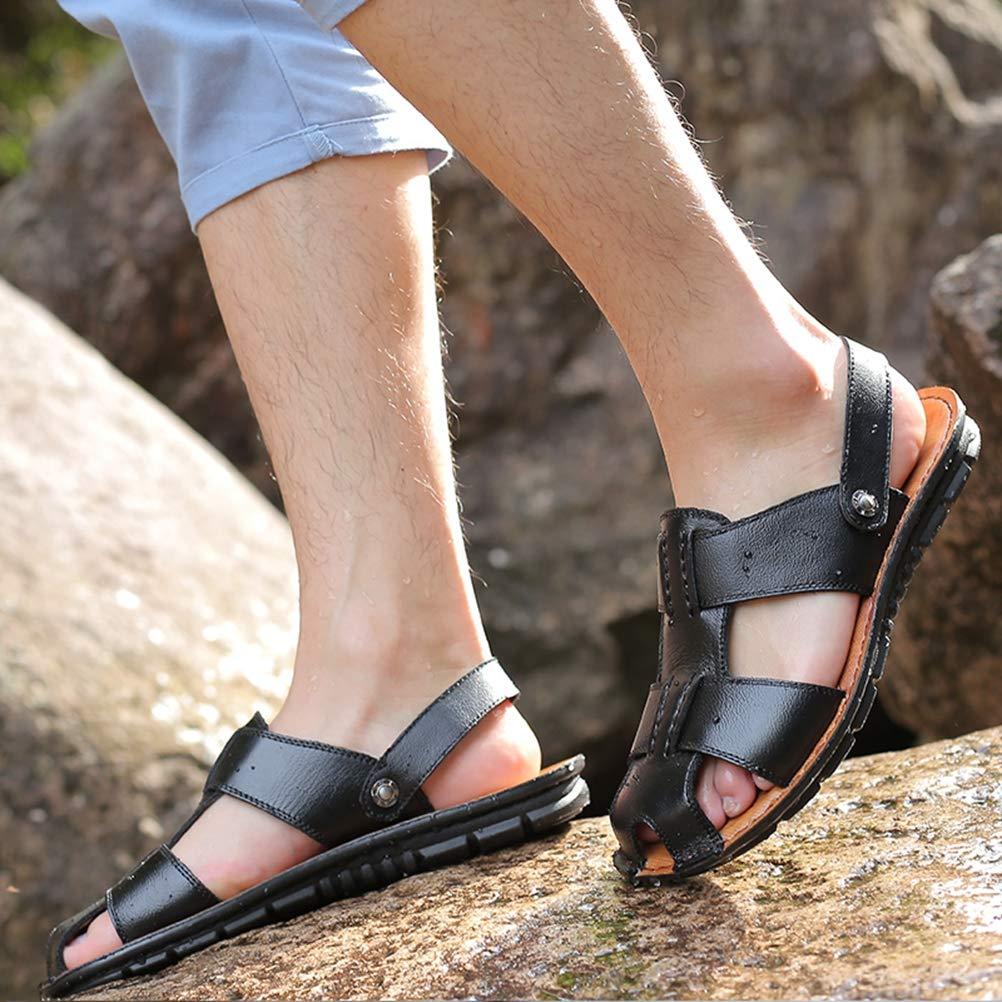 Hombres de la Puntera Cerrada Sandalias de Verano Playa Zapatos de Cuero de Las Zapatillas de Remache con Sandalias Slip on Pantuflas