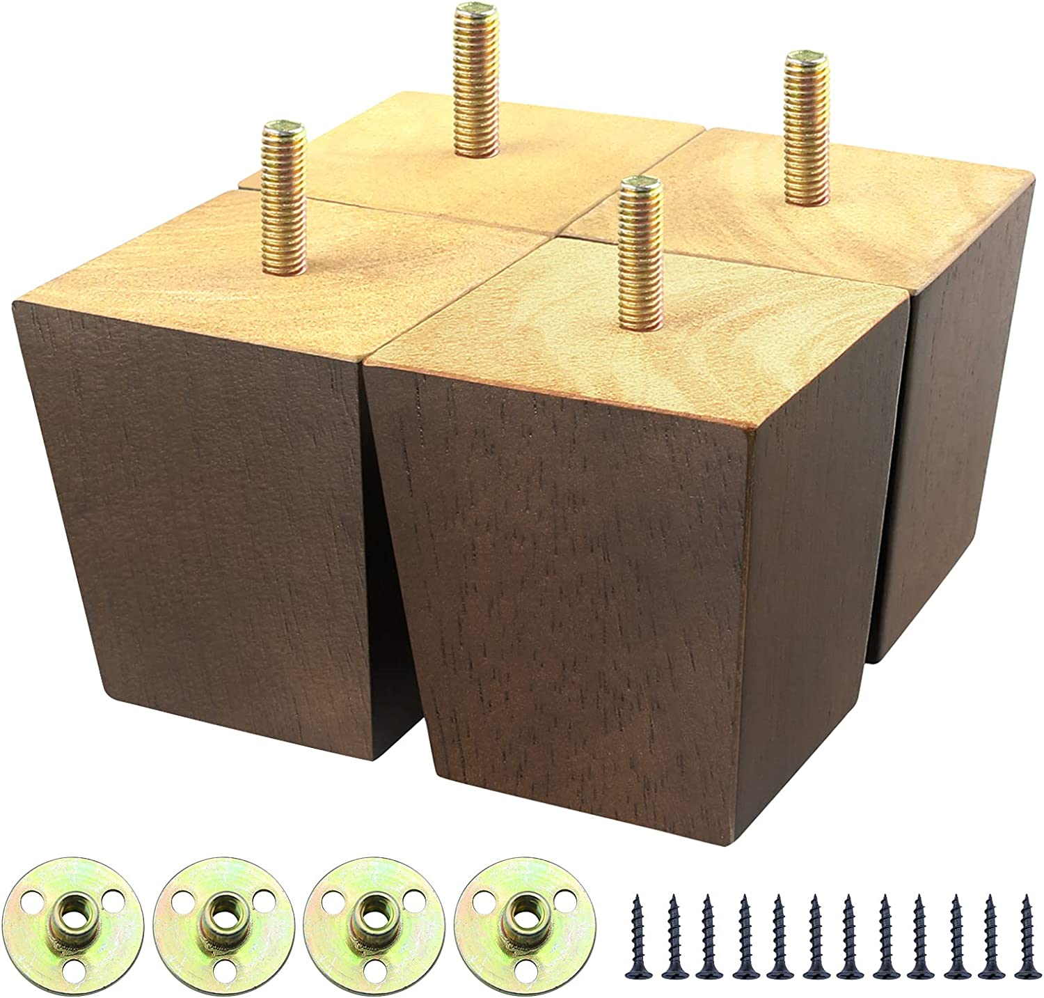 Wooden Sofa Legs 3 inch, Brown Wood Furniture Legs Set of 4, Replacement Couch Legs for Armchair, Cabinet, Mid Century Modern Dresser Or Home DIY Projects Bun Feet