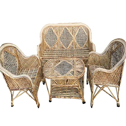 Pleasing H M Services Cane Sofa Set With Table Standard Size Brown Spiritservingveterans Wood Chair Design Ideas Spiritservingveteransorg