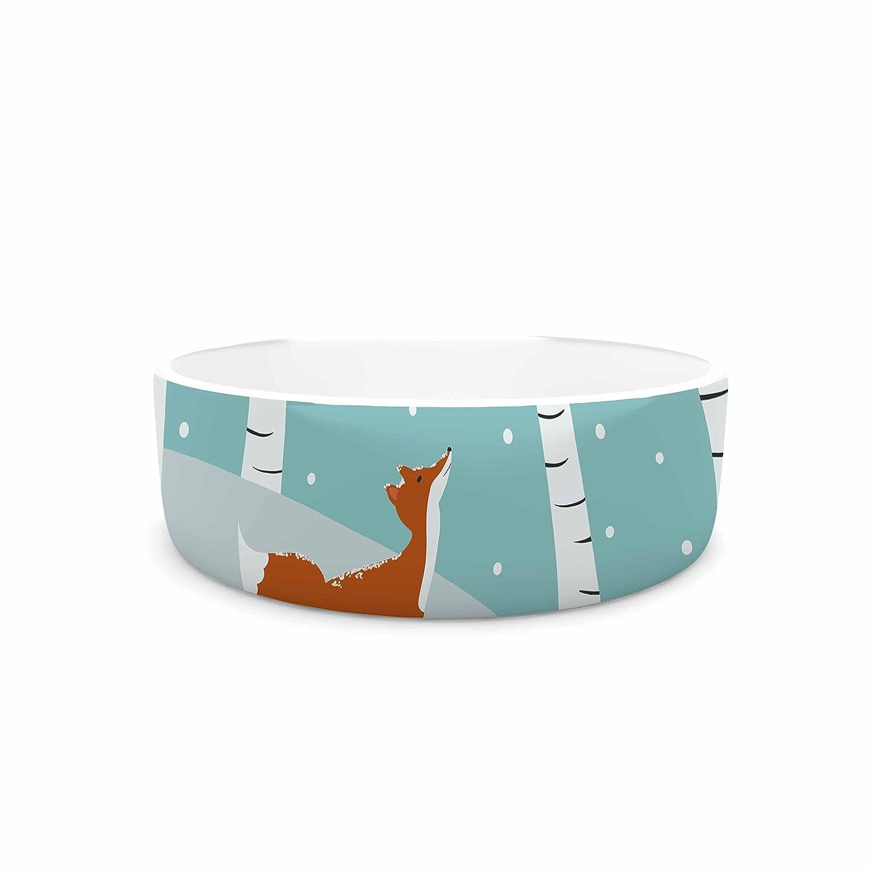 7\ KESS InHouse Cristina Bianco Design Fox Cardinals Winter  bluee Kids Pet Bowl, 7