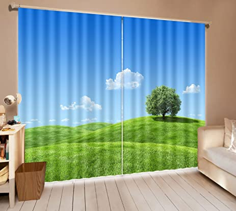 LB 2 Panels Room Darkening Blackout CurtainsGreen Fields And Blue Sky 3D Effect Print