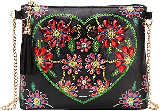 5D Diamond Painting Leather Cross-Body Bag with Chain Makeup Shoulder Bag for Girl Women Christmas Gifts A Valentinefts