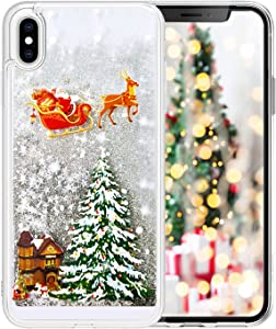 LUVI for iPhone XR Christmas Case Funny Bling Glitter Liquid Fashion Tree Rudolph Pattern Flowing Floating Luxury Shiny Sparkle Quicksand Sequin Case Cover for iPhone XR 6.1 inch Silver
