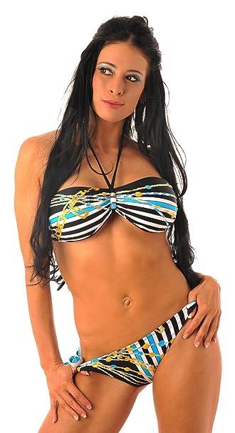 H Neck Bikini Elegante nathalie Bandeau Diseño Con Holder Deamp; y7fg6b