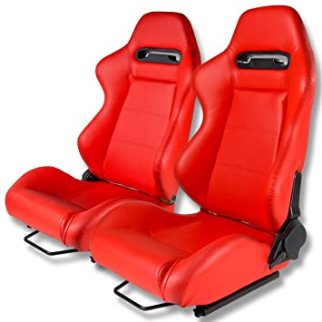 Amazon.com: Type-R Style Red Faux Leather Reclinable Sport Racing ...