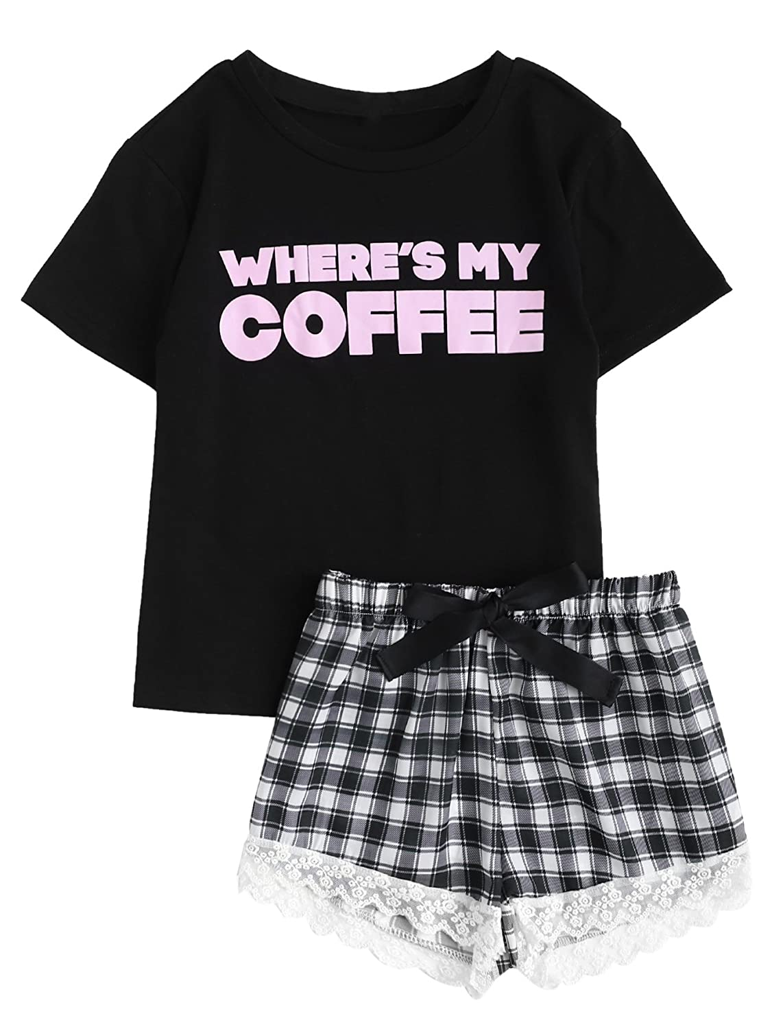 Blackplaid DIDK Women's Cute Cartoon Print Tee and Shorts Pajama Set