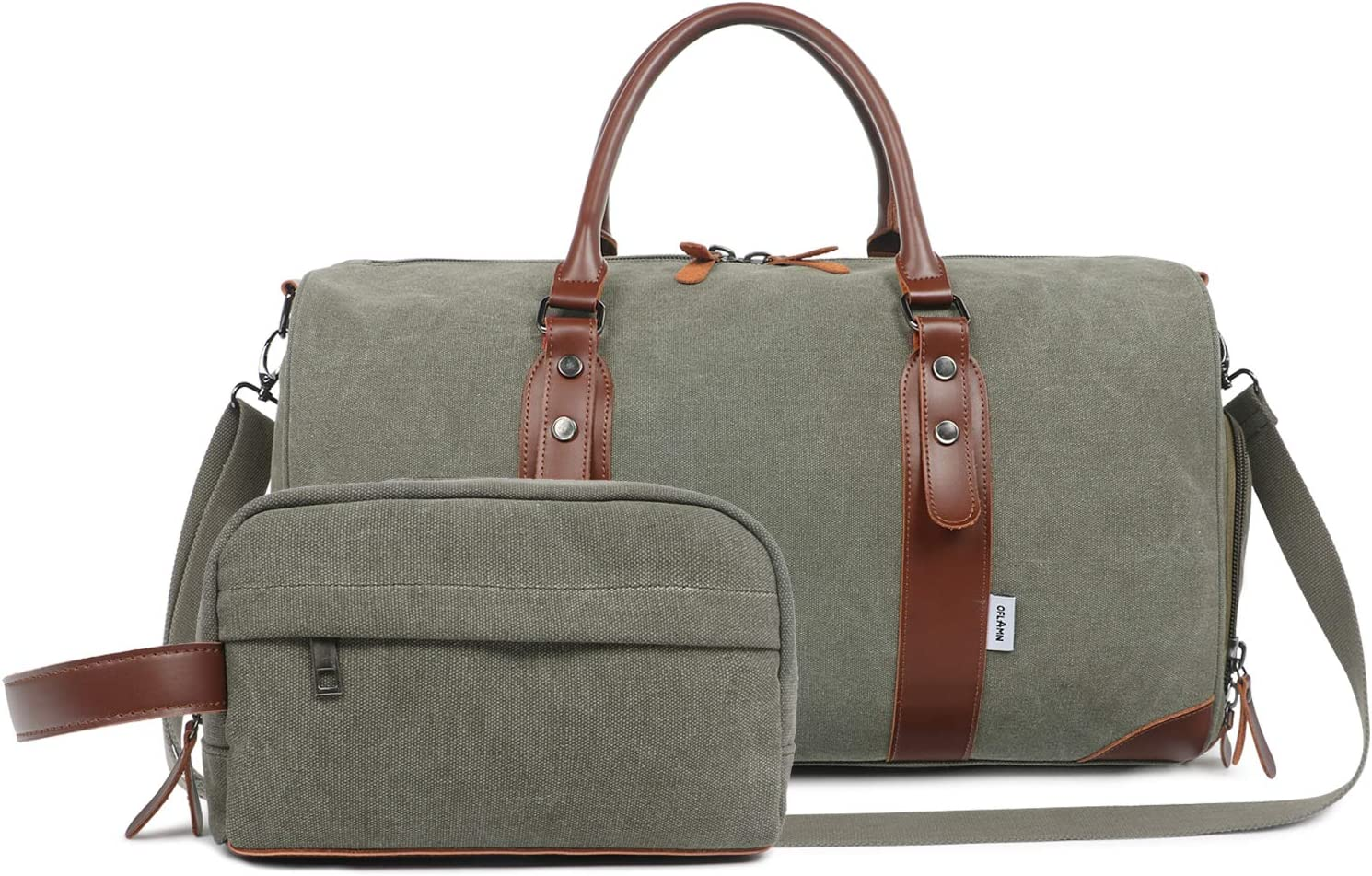 Oflamn Men s Army Green Weekender Duffle Bag with Shaving Kit Bag Shoes Compartment