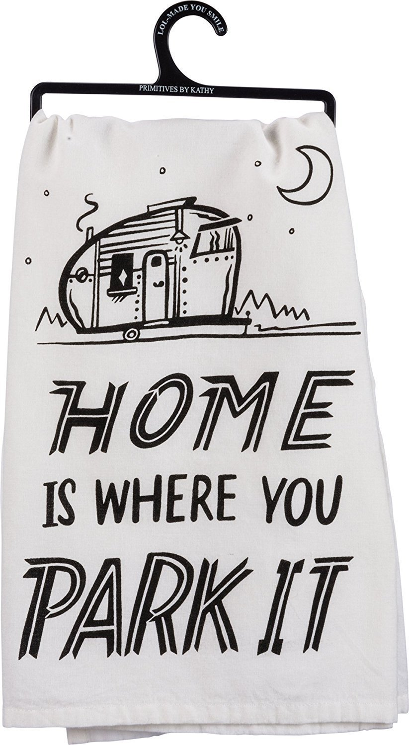 Home Is Where You Park It Towel made our list of DIY Glam Camping Ideas And Tips And Cute Glamping Accessories For Do It Yourself RV And Tent Glamping, Glamping Gifts, Fun Gear And Gifts For Glampers, Awesome Decor, Furniture, Lights, Decorations, Camping Hacks And Products To Add To Your DIY Glamping Kit