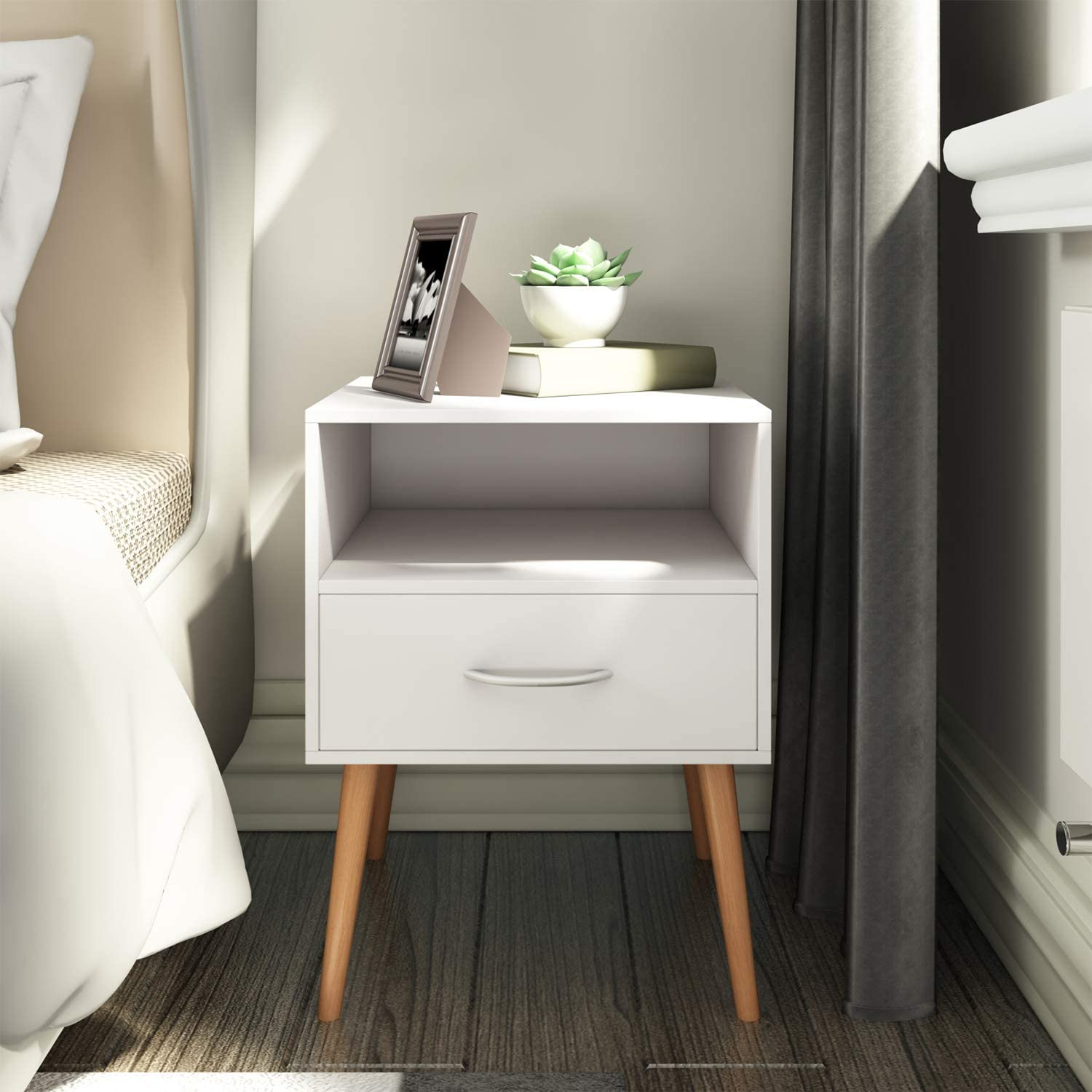 Joolihome White Wooden Bedside Table With Drawers&Silver Handle  Scandinavian Style 5 Tier Bedside Cabinet End Table Side Table Nightstand  Bedroom