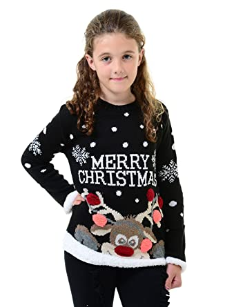 b00ee574a9c Kids Childrens Unisex 3D Pom Pom Xmas Merry Christmas Novelty Sweater  Jumper Top 2 3 4 6 7 5 8 9 10 11 12 13 Years