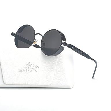 259e39e8aa MINCL Vintage Hippie Retro Metal Round Circle Frame Clear Lens Sunglasses  (black-black)  Amazon.co.uk  Clothing