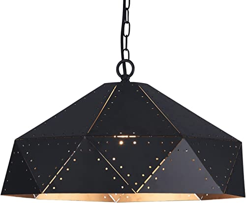 Wideskall 1-Bulb Industrial Dome Pendant Lighting Fixture, 17-inch Metal Shade, Matte Black Finish