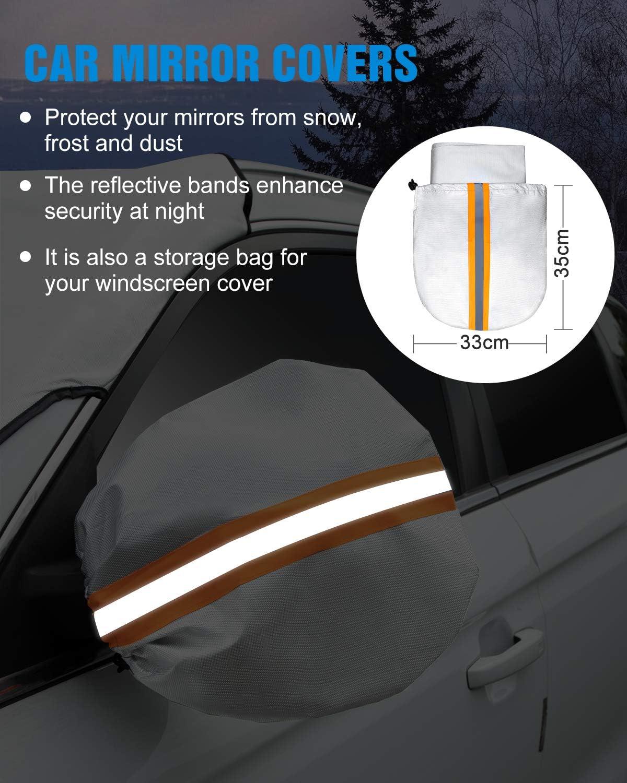 Frost WisFox Auto Windschutzscheibe Abdeckung Car Front Window Protector von Schnee Staub Wasserdicht und winddicht Auto Windschutzscheibenabdeckung Sonne Eis Wind