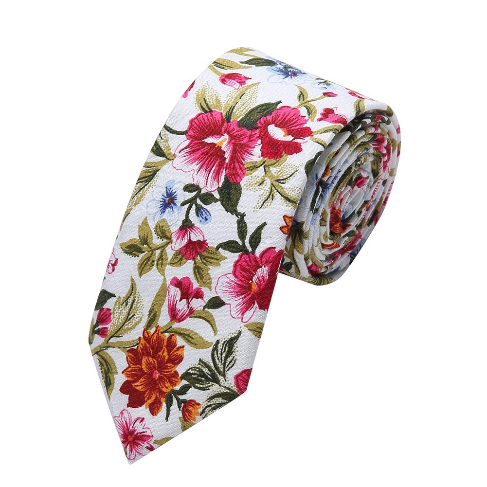 Ausky 4 Packs Cotton Floral Skinny Neckties for Men Boys in Different Flower (Floral B) by AUSKY (Image #4)