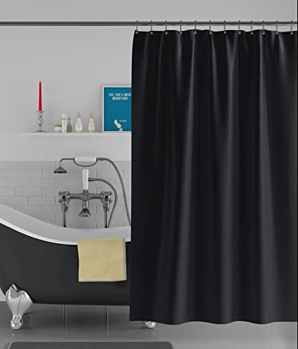 American-Elm Wave Designed Black Fabric Anti Bacterial Water-Repellent Shower Curtain (48 x 84 inch, Black)