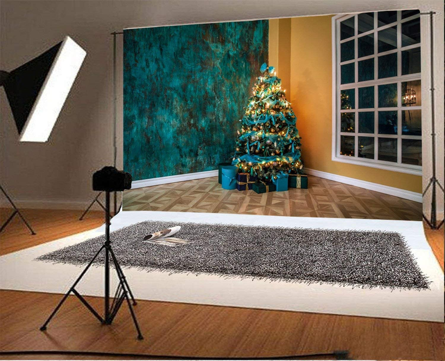 10x6.5ft Polyester Backdrop Photography Background Green Wall New Year Tree Decorated Toys and Balls Christmas Background Grunge Big Window Interior Room Children Adults Video Photo Studio Prop