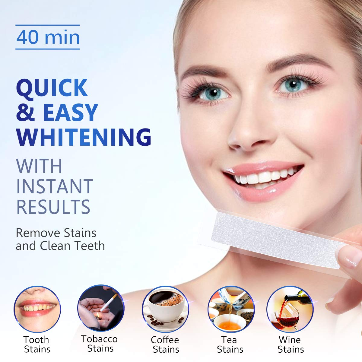 Teeth Whitening Kit,MayBeau 40Pcs Teeth Whitening Strips with Light,Professional Tooth Whitener Kit Tooth Enamel Safe Non Slip Adhesive,Remove Stains,Fast Result No Sensitivity