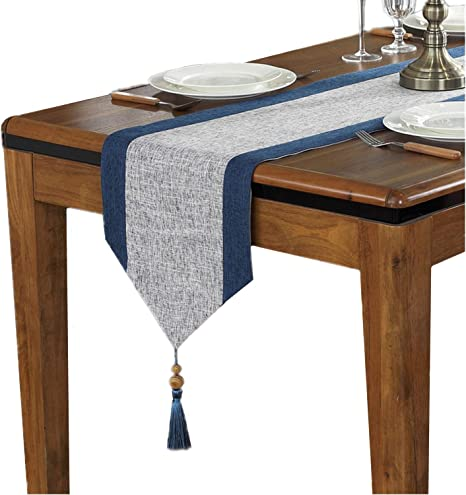 Amazon Com Cotton Linen Table Runner With Tassels For Dining Table Decoration Home Decor 13 X 63 Grey And Blue Home Kitchen
