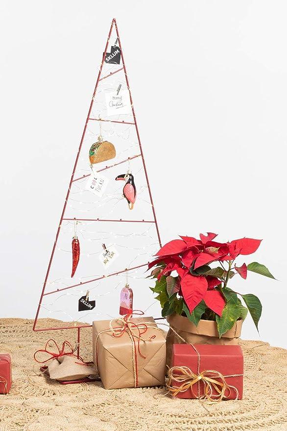 SKLUM Pack Árbol de Navidad Trey y Adornos Acero - Cristal Rojo - (Elige Color): Amazon.es: Hogar