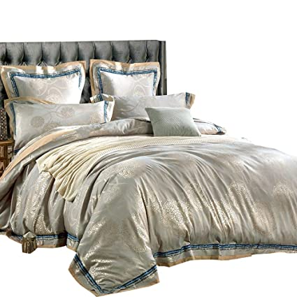 a215f2c91 Amazon.com  MKXI Sateen Bedding Duvet Cover Set European Luxury Style  Zipper Cloure King Size  Home   Kitchen