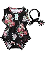Xmas Apparel Baby-Girls Sleeveless Tassel Romper + Headband