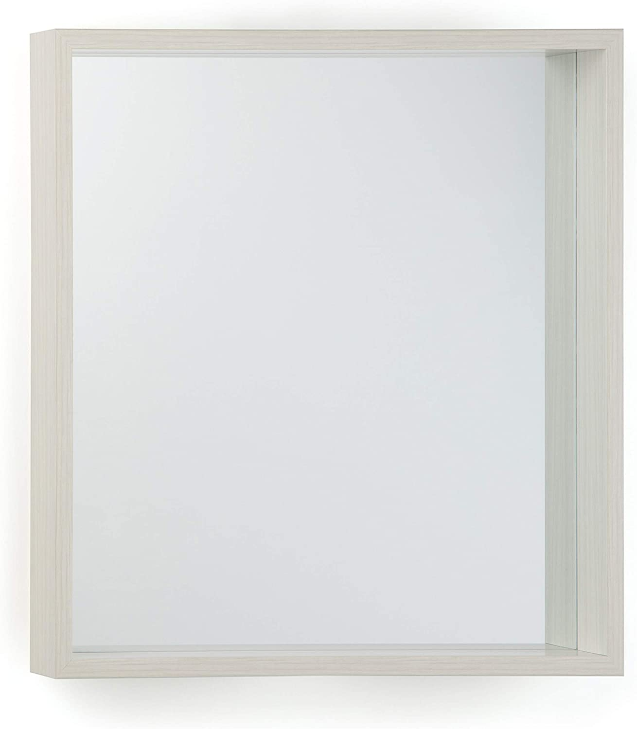 Simpli Home Armand 25 inch x 25 inch Square Transitional Décor Mirror in White Wash Stain