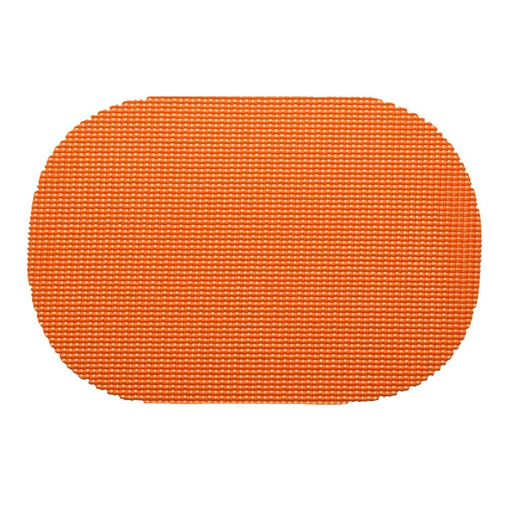 12 Piece Spice Orange Placemats,(Set of 12), Machine Washable, Solid Pattern, Oval Shape, Contemporary And Traditional Style, Perfect For Everyday Entertaining, Season Or Holiday Lace Material, Copper