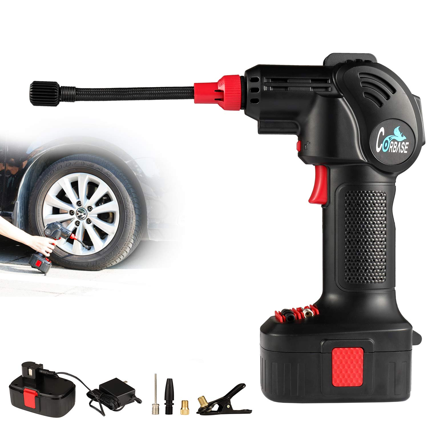 Portable Hand Held Air Compressor Electric Cordless Tire Inflator Pump with Digital LCD Rechargeable Li-ion for Car Bike Bicycle and Motocycle 12V 125PSI (Red) Corbase