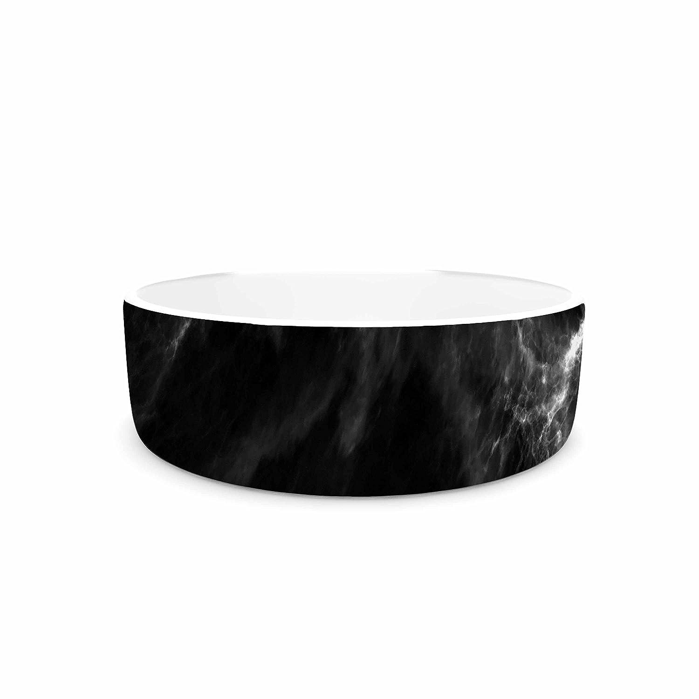 7\ KESS InHouse Chelsea Victoria Black Marble  Modern White Pet Bowl, 7