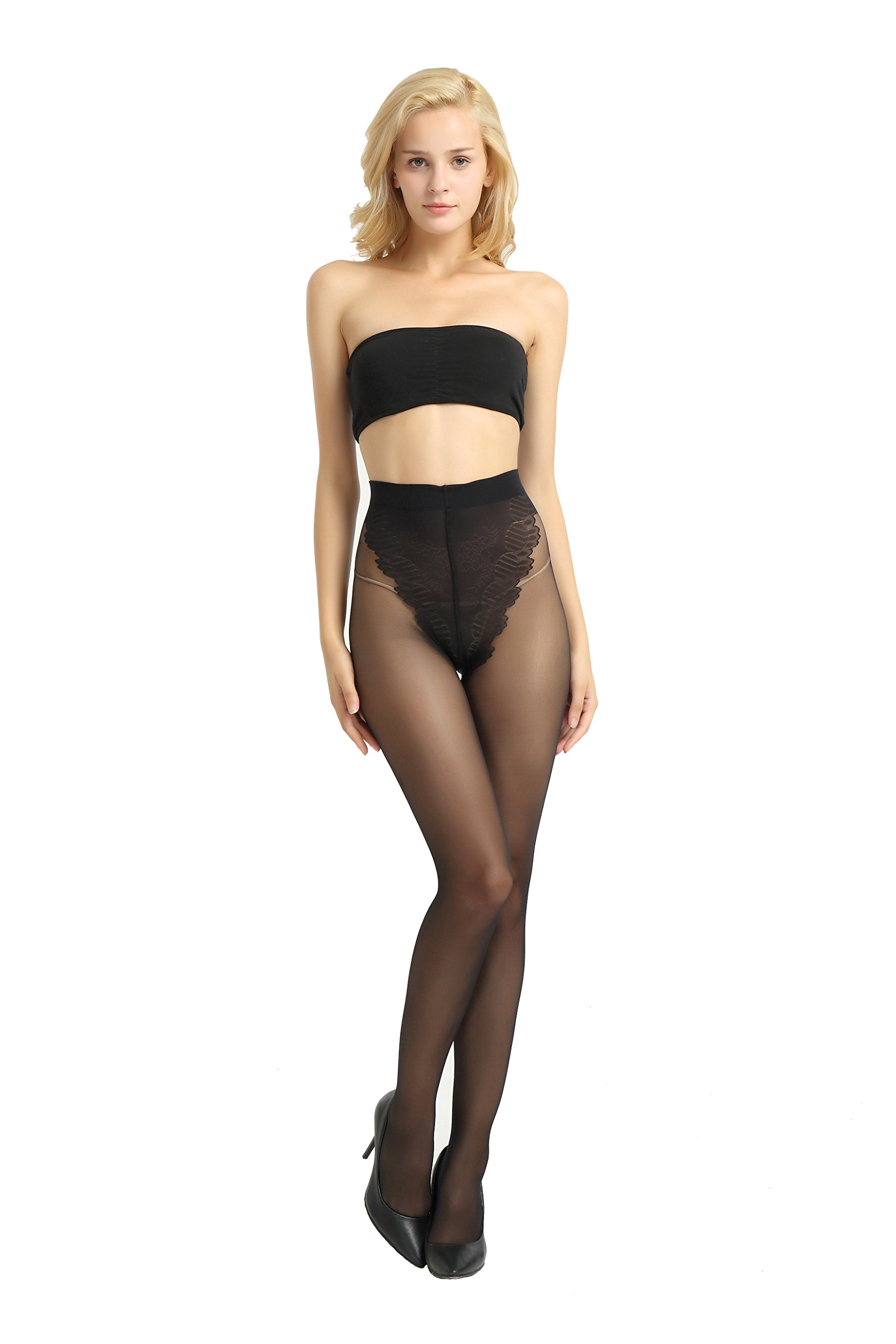 Alice & Belle Women's Super Thin Pantyhose, Soft Tights with Lace Control Top (Large, Black)